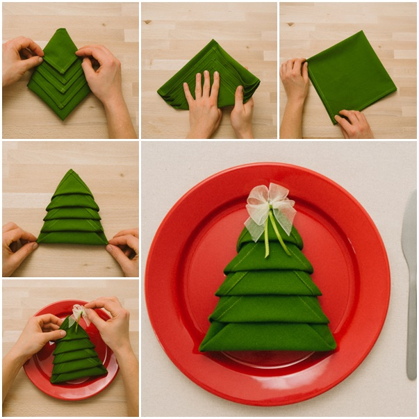 diy christmas tree napkin folding video. Black Bedroom Furniture Sets. Home Design Ideas