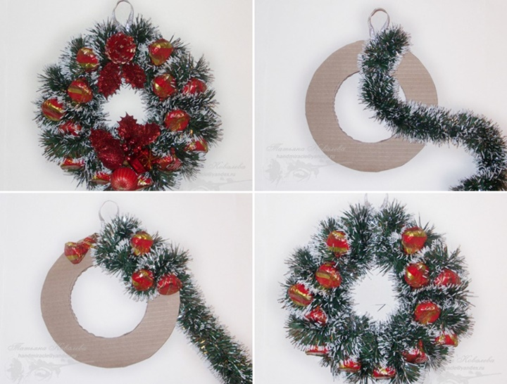 christmas wreath with chocolates f - How To Make A Christmas Wreath