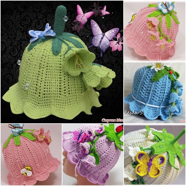 Crochet Girls Bluebell Beanie Hat Pattern