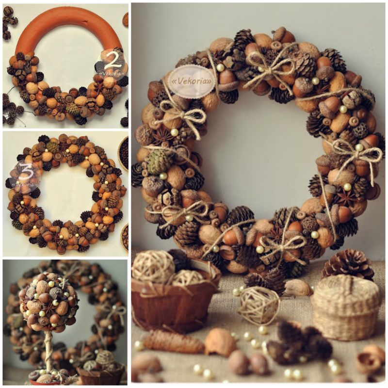 How To DIY Pine Cone Wreath And Topiary