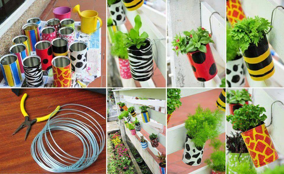 How to diy garden planters with recycled cans - Diy tin can ideas ...