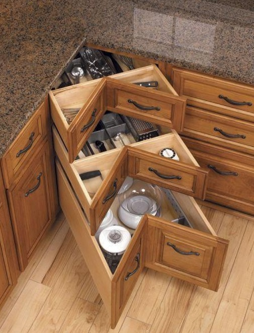kitchen drawers.  How To DIY Corner Kitchen Drawers
