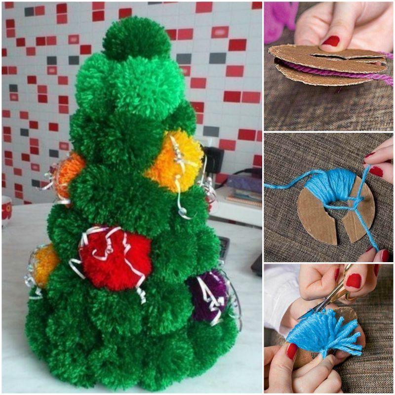 How to DIY Simple Pom Pom Christmas Tree