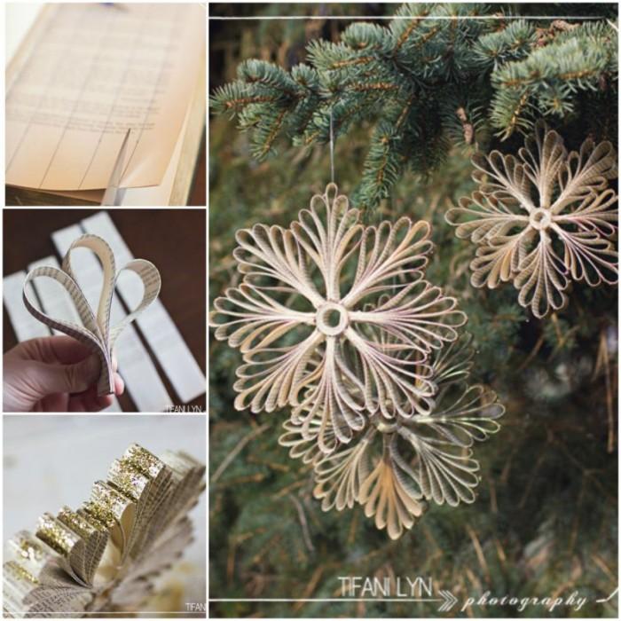 Diy Paper Book Snowflake Christmas Ornament