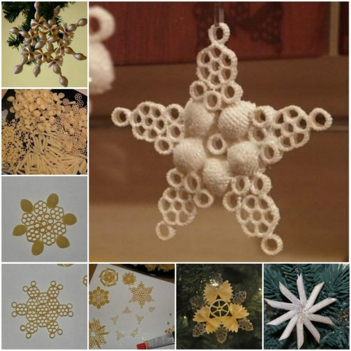 DIY Pasta Snowflake Ornament for Christmas - Easy Tutorial