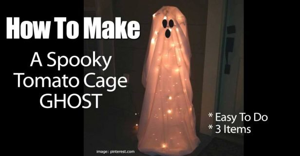DIY Simple Spooky Tomato Cage Ghost