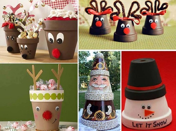 DIY Clay Pot Projects-DIY Terra Cotta Flower Pot Christmas Decorations