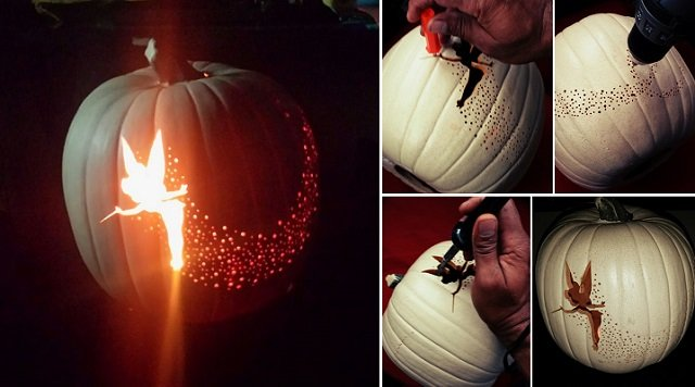 Diy tinker bell pixie dust pumpkin carving for Fairytale pumpkin carving ideas