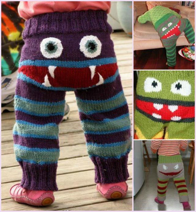 DIY adorable Knit Monster Pants - free patterns