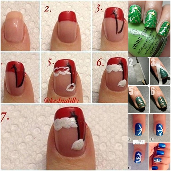 20 cutest christmas nail art diy ideas - Christmas Nail Decorations