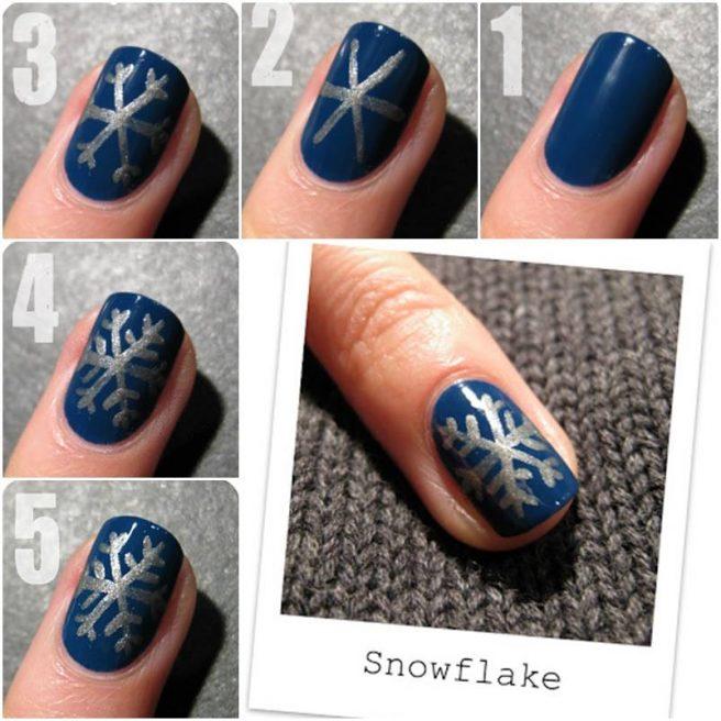 20+ Cutest Christmas Nail Art DIY Ideas - DIY Winter snowflake Nail Art Tutorial