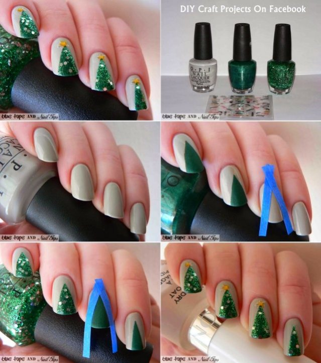 20+ Cutest Christmas Nail Art DIY Ideas - Christmas Tree Nails Tutorial - 20+ Cutest Christmas Nail Art DIY Ideas