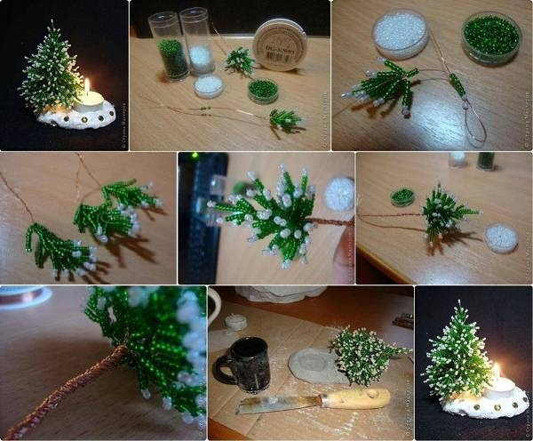 Awesome DIY Mini Bead Christmas Tree Candle Holder