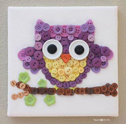 How to DIY Cute Mosaic Button Owl Art