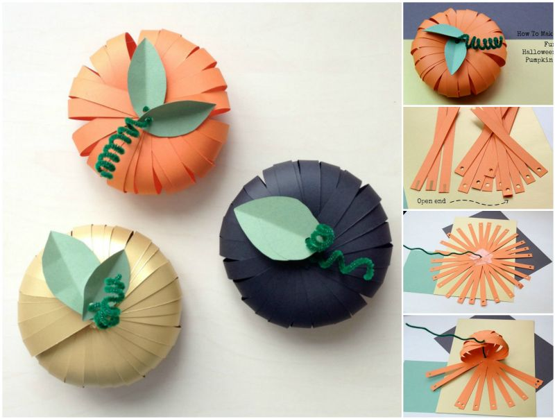 How to DIY Simple Fun Paper Pumpkins for Halloween