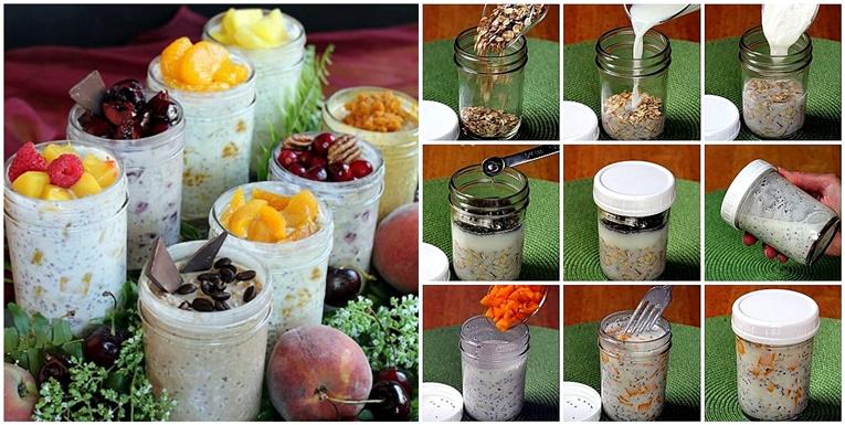 Lazy oatmeal in a jar