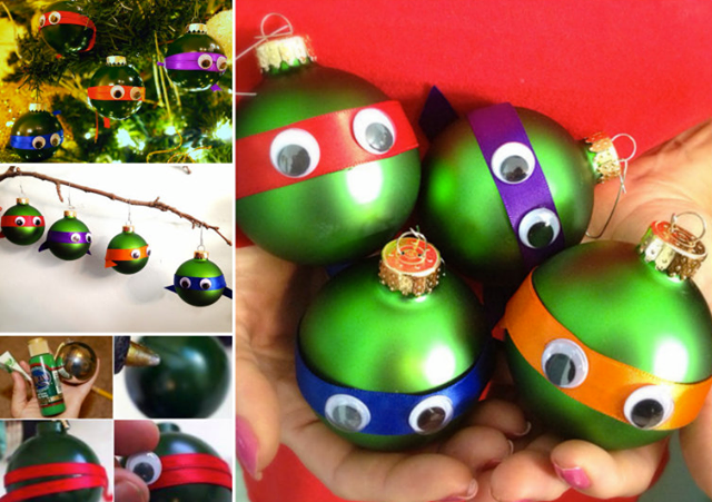 DIY Fun Ninja Turtle Christmas Ornaments