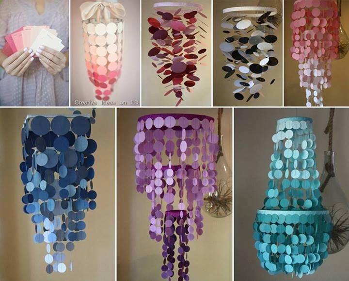 Diy ombre paint swatch chandelier - Manualidades para tu casa ...