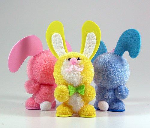 Fab Design on Yarn Pom Pom Animal Figures - Pom Pom Bunny