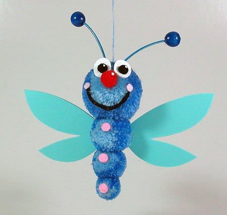 Fab Design on Yarn Pom Pom Animal Figures - Pom Pom Dragonfly