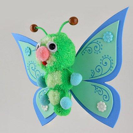 Fab Design on Yarn Pom Pom Animal Figures - Pom Pom Butterfly