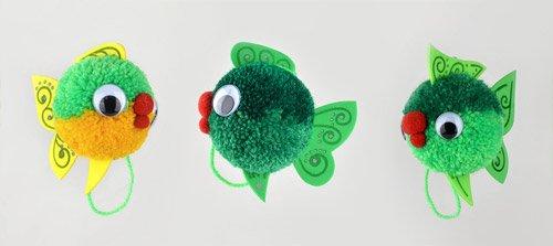 Fab Design on Yarn Pom Pom Animal Figures - Pom Pom Fish