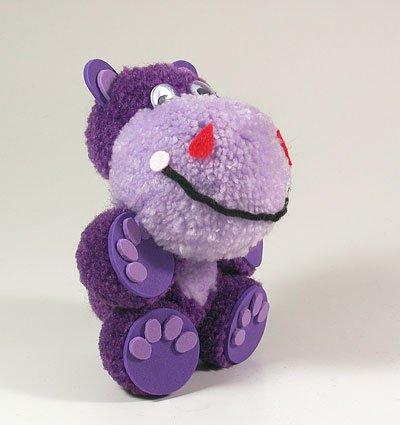 Fab Design on Yarn Pom Pom Animal Figures - Pom Pom Hippo
