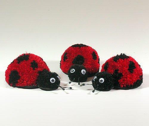 Fab Design on Yarn Pom Pom Animal Figures - Pom Pom Ladybug