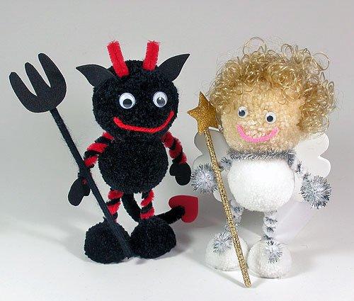 Fab Design on Yarn Pom Pom Animal Figures - Pom Pom Angel & Evil