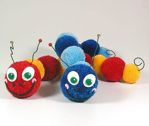Fab Design on Yarn Pom Pom Animal Figures - Pom Pom Caterpillar