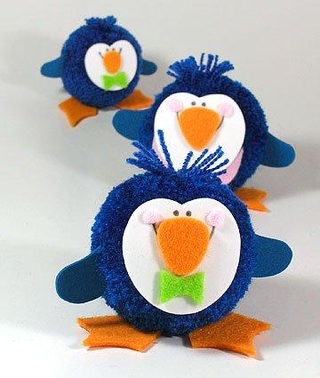 Fab Design on Yarn Pom Pom Animal Figures - Pom Pom Penguin
