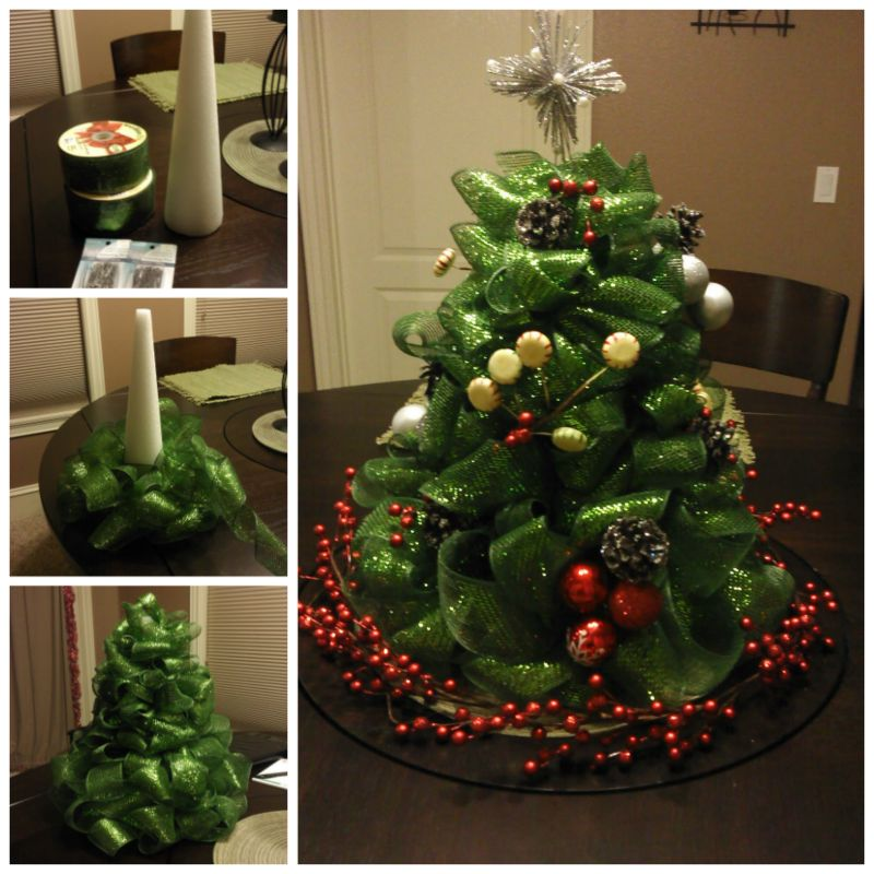 How to diy ribbon christmas tree centerpiece Diy christmas tree decorations