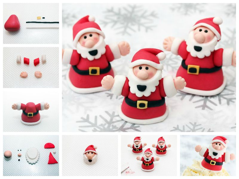 How to DIY Fondant Santa Claus Cake Decorations