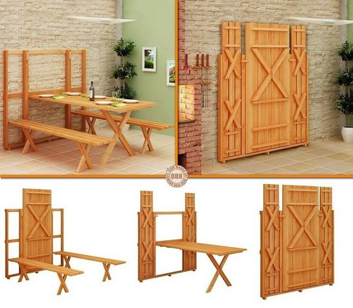 Diy plans space saving fold down picnic table for Diy fold down desk