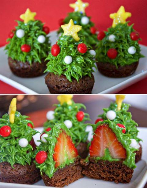 DIY Strawberry Christmas Tree Brownie Bites Recipe