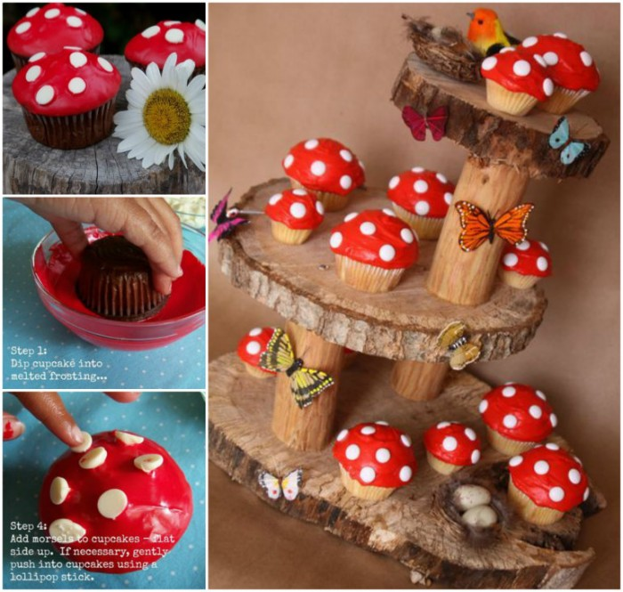 DIY Toadstool Cupcake on Fairy Garden Stand
