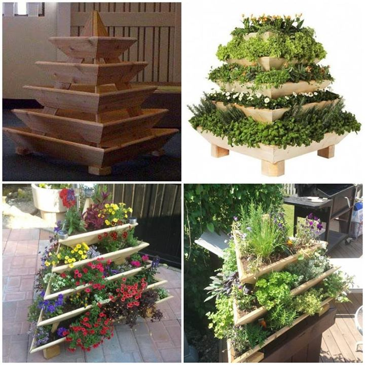How to diy vertical pyramid tower garden planter www for Vertical garden planters diy
