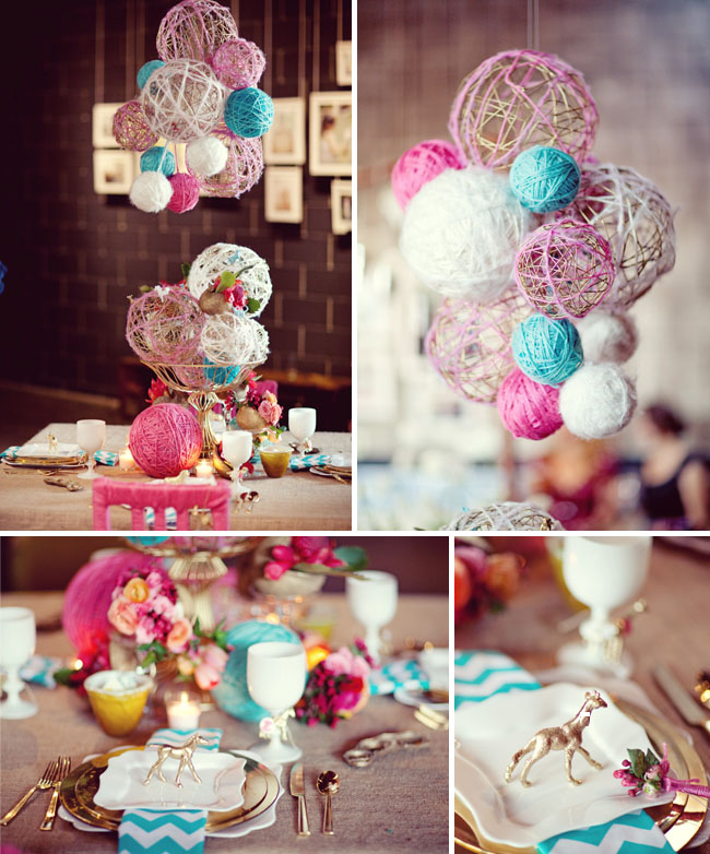 DIY Pretty String Ball Decoration for Christmas-colorful yarn centerpiece