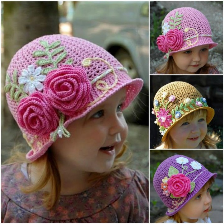 crochet girls vintage hat with rose