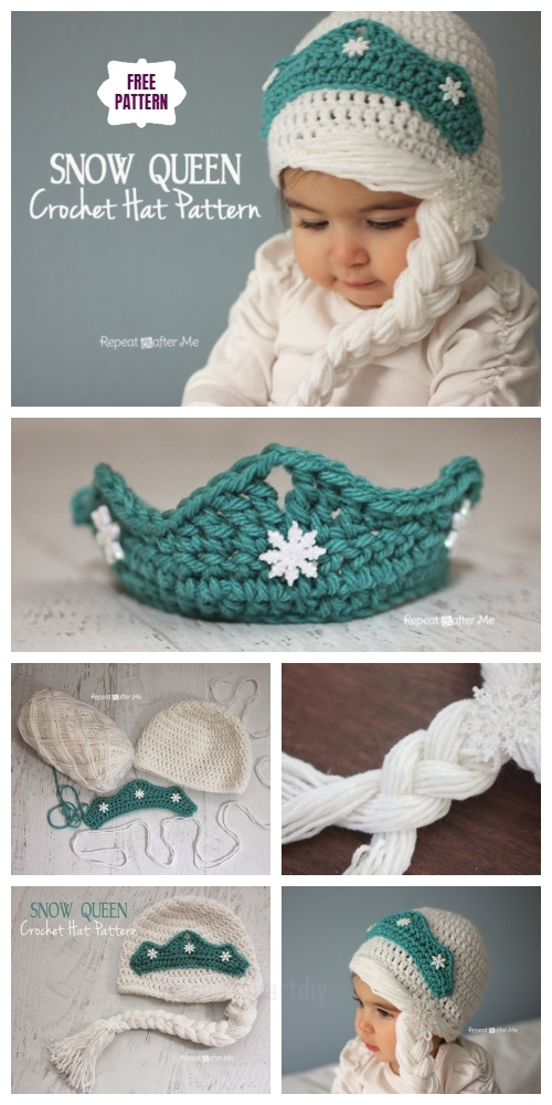 Crochet Elsa's Snow Queen Girls Hat Free Crochet Pattern