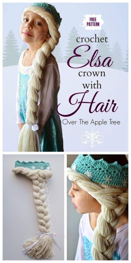Crochet Elsa Crown With Hair Free Crochet Pattern