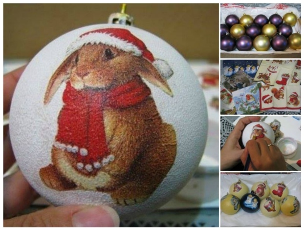 DIY Decoupage Christmas Ball Ornament with Napkins , Video