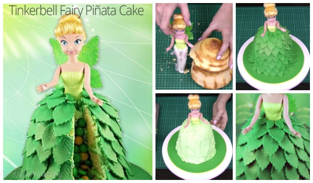 DIY Fairy Tinkerbell Pinata Cake Design Tutorial - Video