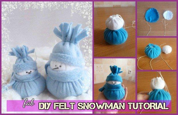 DIY Felt Snowman Tutorial-Sew Snowman