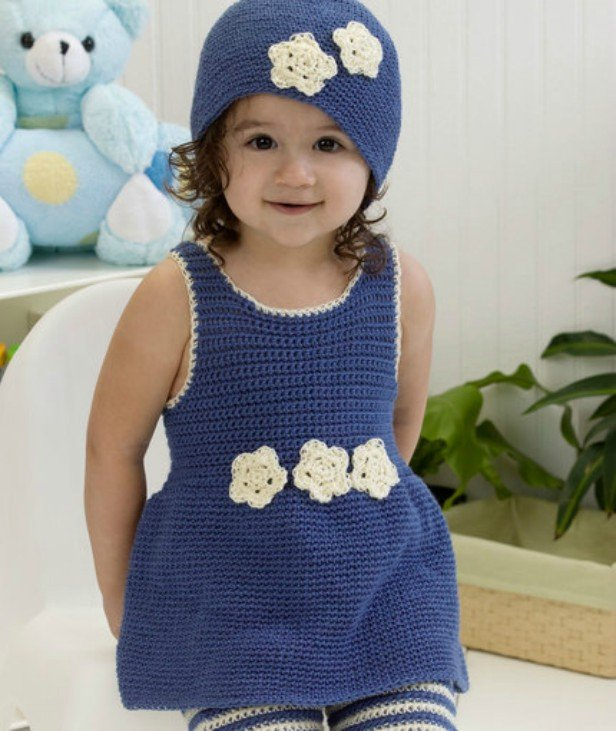 Crochet Darling One-Piece Romper Dress & Hat Free Pattern