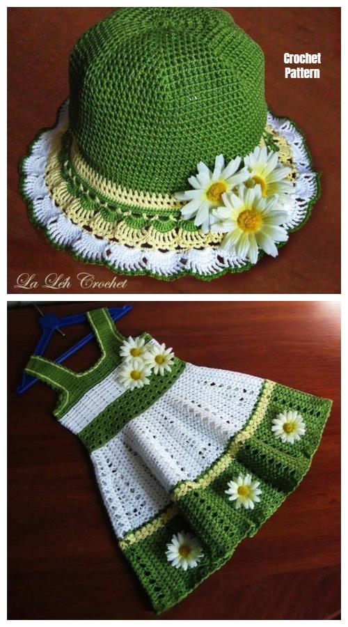 DIY Girl's Crochet Dress and Hat Set Pattern - Green Daisy Shell Stitch Dress