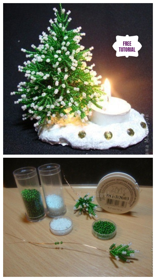 DIY Mini Bead Christmas Tree Candle Holder Tutorial