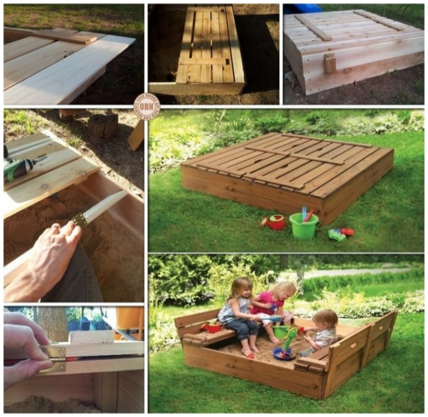 DIY Pallet Sandbox with Cover Tutorial