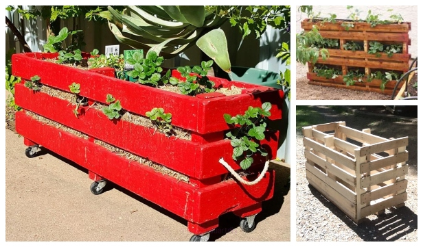 DIY Recycled Pallet Vertical Strawberry Planter - Video
