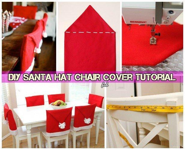 Diy Festive Santa Hat Chair Cover Santa Table Setting